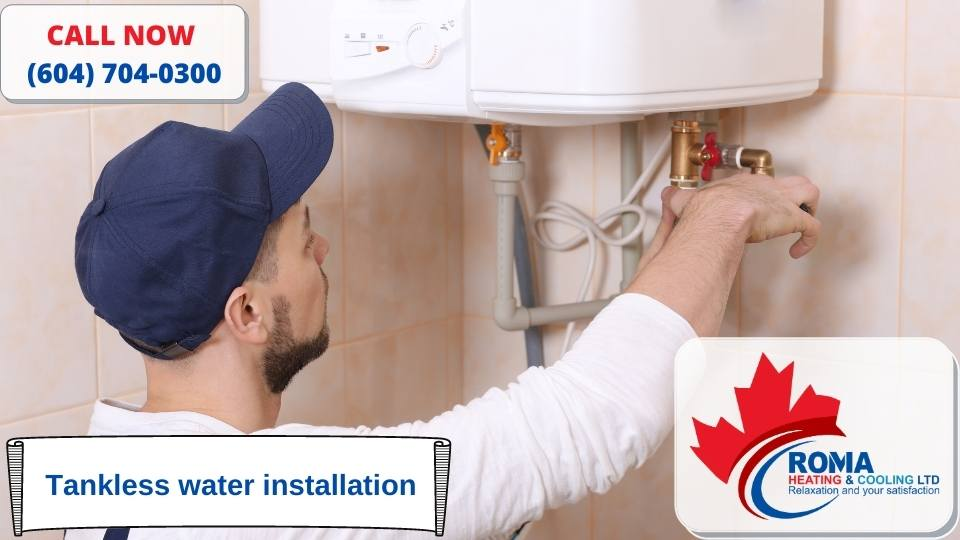 Tankless water installation